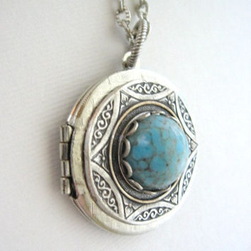 Sky Blue Turquoise, LOCKET, Silver Locket Necklace,Pendant, Turquoise Locket, Lockets, Celtic Jewelry, Pagan Jewelry,Celtic Necklace,Jewelry