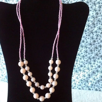 light pastel pink and silver bead layered necklace & earrings set statement womens fashion jewelry 23in classy business dance bib statement