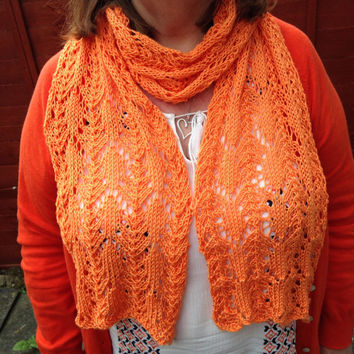 Hand knitted ladies scarf, with a lace design in bright orange, ideal for summer days/evenings, weddings, parties, holidays READY TO SHIP