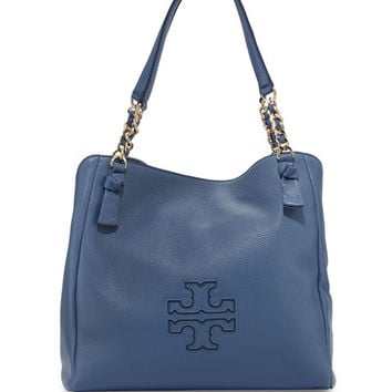 Tory Burch Harper Center-Zip Leather Tote Bag, Blue