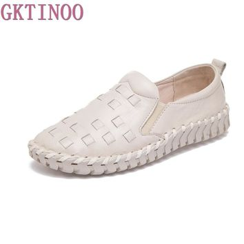 Handmade vintage women's shoes genuine leather female moccasins loafers soft slip-resistant Slip-On casual shoes flats