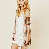 Free People Sheer Stripe Long Cardigan