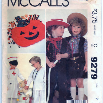 McCalls 9279 Sewing Craft Supply Pattern Childrens, Boys And Girls Costumes And Bag