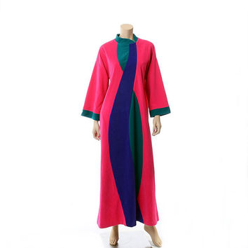 Vintage 70s Mod Vanity Fair Swirl Robe 1970s Near Neon MCM Rockabilly Loungewear Velour Lounger Hostess Gown / Size M