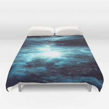 Orion Nebula Teal  Duvet Cover by GalaxyDreams