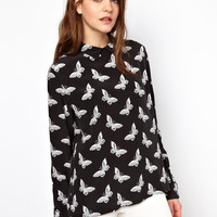 Equipment Grace Button Back Blouse in Butterfly Print Silk at asos.com
