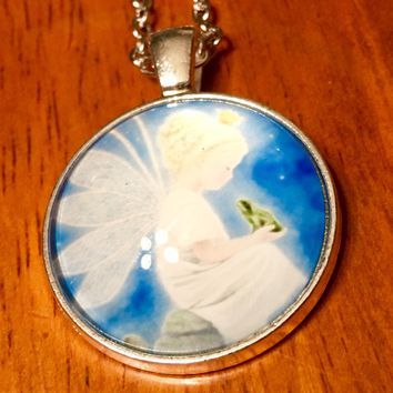 Fairy and Frog Glass Cabochon Necklace