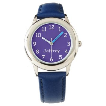 Blue & White Kid's Watch, Blue Strap Watch