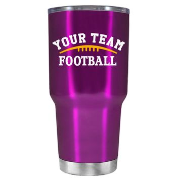 TREK Custom Football Team on Raspberry 30 oz Tumbler Cup