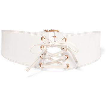 Prada - Lace-up patent-leather waist belt