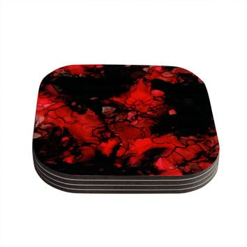 "Claire Day ""Vesuvius"" Red Dark Coasters (Set of 4)"