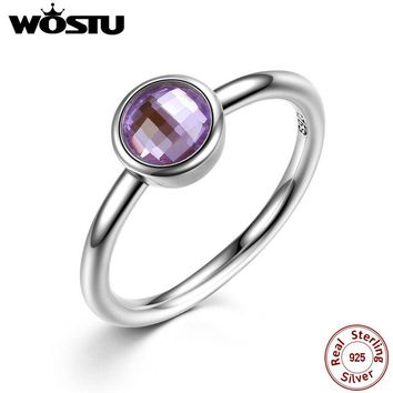 Aliexpress Pure 100% 925 Sterling Silver Poetic Droplet Engagement Ring With Purple CZ For Women Original Jewelry Gift XCH7185
