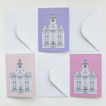 Liverpool Cards, Set of 3 Blank Cards with envelopes, Pink and Lilac Cards, Greeting Cards, Thank You Cards, Notecards