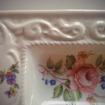 SALE Vintage 80's Jewelry Dish Italian Floral Painted White Porcelain Catchall Tray