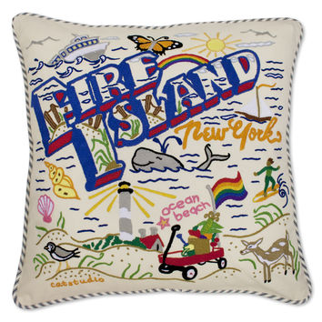 Fire Island Hand Embroidered Pillow