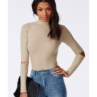 Missguided - High Neck Cut Out Elbow Crop Top Taupe