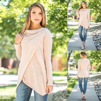 Women Simple Casual Solid Color Long Sleeve Irregular T-shirt Tops
