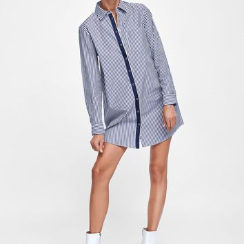 SHIRT DRESS WITH TRIMS