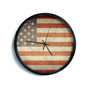"Bruce Stanfield ""Flag of US Retro"" Rustic Modern Wall Clock"