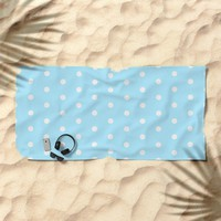 Polka dot pattern, classic blue, dotted, retro style design, white points, circles, vintage pin-up Beach Towel by Peter Reiss