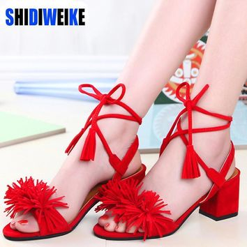2017 summer women fringe sandals shoes woman med heel ankle strap open toe ladies lace