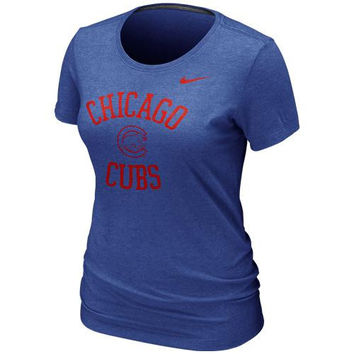 Nike Chicago Cubs Blended Slim Fit Tri-Blend T-Shirt - Royal Blue