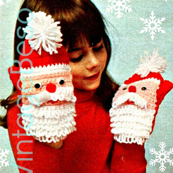 Santa Mittens Vintage CROCHET Christmas 1970s Vintage Crochet Pattern is a Digital Download for Mittens Puppets Gloves of Santa Claus