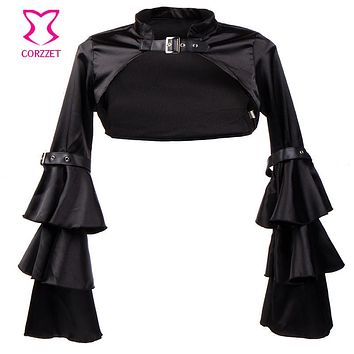 Black Butterfly Sleeve Satin Bolero Women Sexy Corset Jacket Coat Plus Size Sexy Gothic Clothing Steampunk Costume Accessories