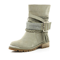 River Island Womens Beige suede chain embellished biker boots