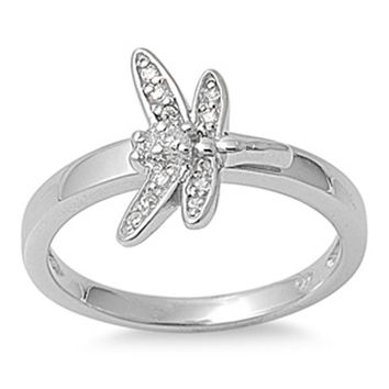 Sterling Silver Dragon Fly Cubic Zirconia Ring