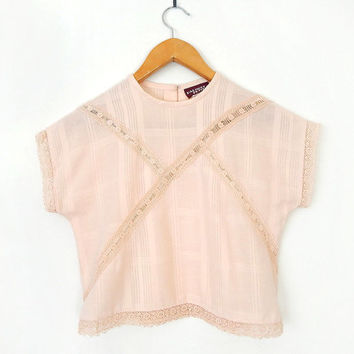 Vintage Pastel Peach Lace Trim Crop Top - 1980s Kimono Sleeve Semi Sheer Cropped Women's Blouse - Size Extra Small XS