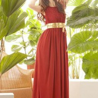 Elegant Sleeveless Ruched Maxi Dress