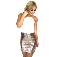 Sweetest Goodbye Sequin Dress In Rose Gold