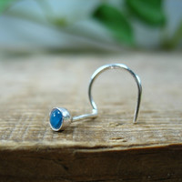 Nose Screw Hook Stud Blue Topaz Sterling Silver 3mm