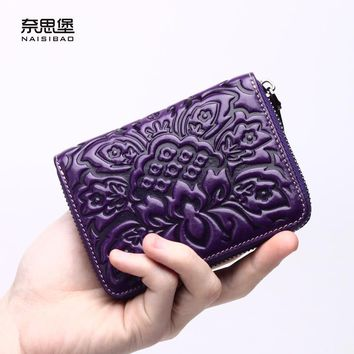 Chinese style Genuine Leather Wallet Women Luxury Brand Coin Purse Card holder Mini zipper Wallet Womens Wallets And Purses