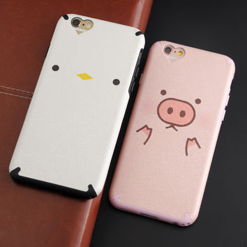 Silk Pattern Soft TPU Case For Apple iphone 6 6s 6plus 6splus Silicone Lovely Animals Pig Bear Rabbit Chicken Phone Cases