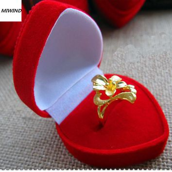 1PC Velvet Cover Red Heart Jewelry Ring Display Storage Organizers Box Xmas Gift