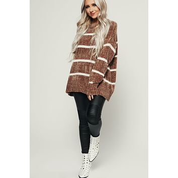 Numb To Love Chenille Sweater (Brown)