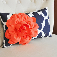 Coral Flower on Navy and White Moroccan Lumbar Pillow