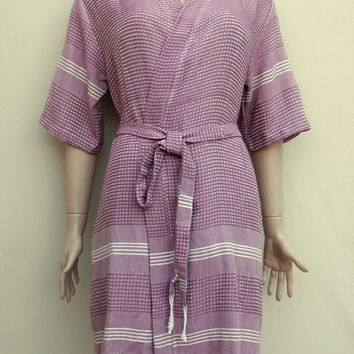 Grape burgundy colour women's soft cotton kimono style bathrobe, bridesmaid robe, dressing gown, cover up,  spa robe, summer robe.