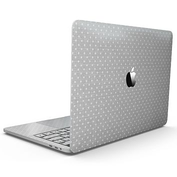 White Micro Polka Dots Over Gray Fabric - MacBook Pro with Touch Bar Skin Kit