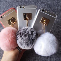 Rabbit Fur Ball Transparent Iphone 5 5s 6 6s plus Case