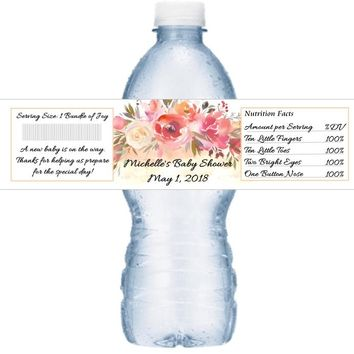 21 Peach Floral Baby Shower Water Labels