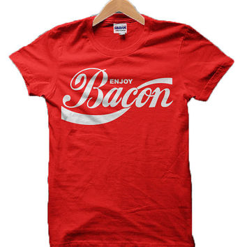 Enjoy Bacon Coca Cola style Red Tshirt