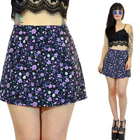 vintage 90s high waisted SKORT ditsy floral mini skirt shorts blue pastel grunge kawaii paper thin boho new wave 7/8