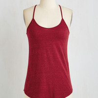 Mid-length Spaghetti Straps Peace and Kayak Top in Cranberry