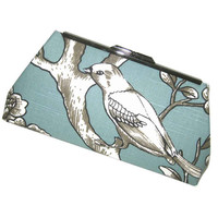 Blue White Bird Clutch Purse Handbag