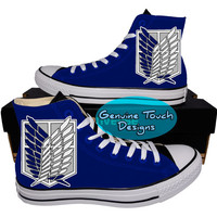Custom Converse, Attack on Titan, Fanart shoes, Anime shoes, Custom chucks, painted shoes, personalized converse hi tops