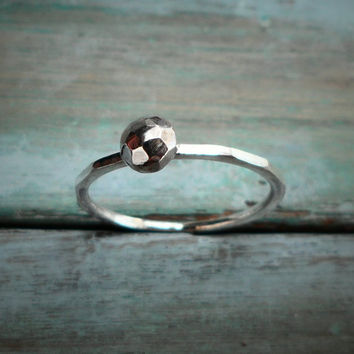 Sterling Silver Ring with Faceted Sterling Silver Ball solitaire, Contemporary Design, Simple Silver Ring