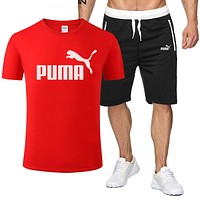 PUMA Summer Fashion Men Casual Print Short Sleeve T-Shirt Top Shorts Sport Set Two-Piece Red